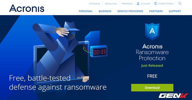 Tiếp theo, hãy truy cập vào đường dẫn này để tiến hành tải về Acronis Ransomware Protection.