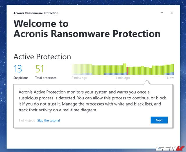 Khi đã đăng nhập (đăng ký) thành công, bạn sẽ được chuyển sang giao diện chính của Acronis Ransomware Protection với các thông tin giới thiệu cho lần đầu tiên sử dụng.
