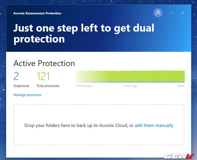 Bắt đầu từ lúc này, Acronis Ransomware Protection sẽ giám sát mọi tiến trình của máy tính và hiển thị những tiến trình đáng ngờ (Suspicious) để bạn có thể tiến hành chặn hay tin tưởng chúng. Cụ thể, để xem các tiến trình mà Acronis Ransomware Protection xếp vào dạng đáng ngờ, bạn hãy nhấp vào Manage processes.