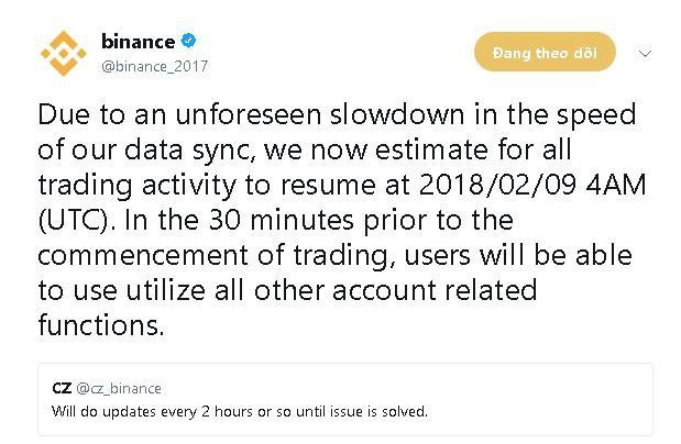 Sàn giao dịch Binance thông báo kéo dài hoạt động bảo trì đến 4 giờ sáng ngày 9 tháng 2.