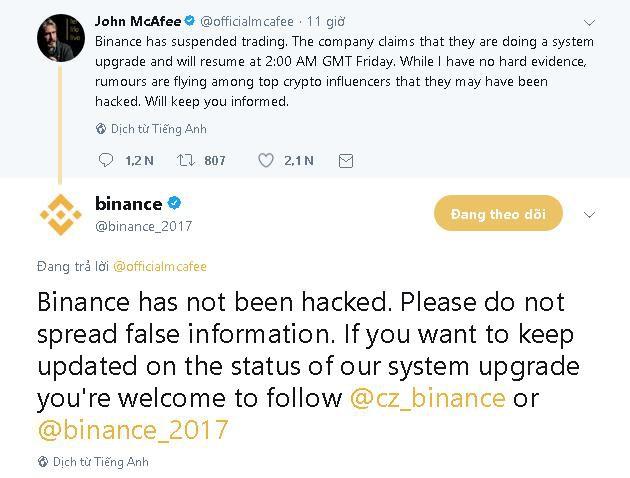 Binance khẳng định không bị hack trước cáo buộc của John McAfee.