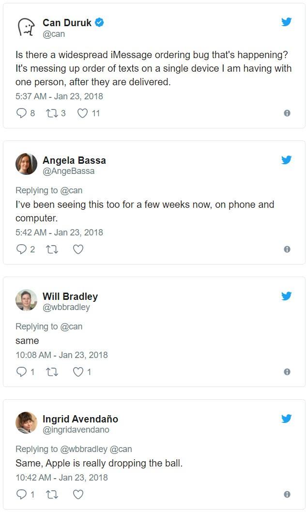 Người dùng trên Twitter phàn nàn về lỗi hiển thị của iMessage