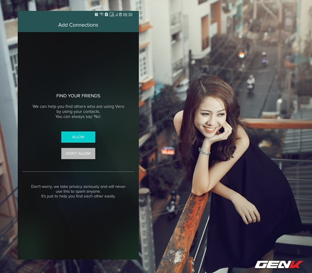 Tiếp theo, Vero sẽ yêu cầu bạn cho phép ứng dụng được truy cập danh bạ để nhận diện người dùng Vero khác mà bạn có thể quen.