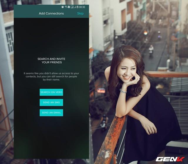 Hoặc bạn có thể gửi SMS, hay email mời sử dụng Vero đến bạn bè hoặc tìm kiếm từ chính Vero.