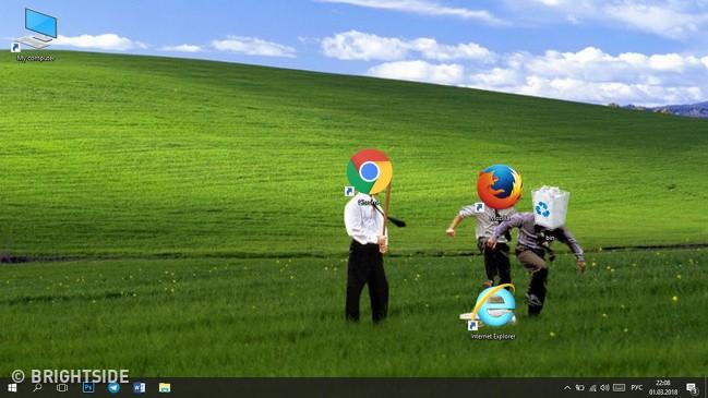 [Vui] Tổng hợp loạt hình nền máy tính hài hước nhất, Internet Explorer chuyên bị bắt nạt - Ảnh 12.