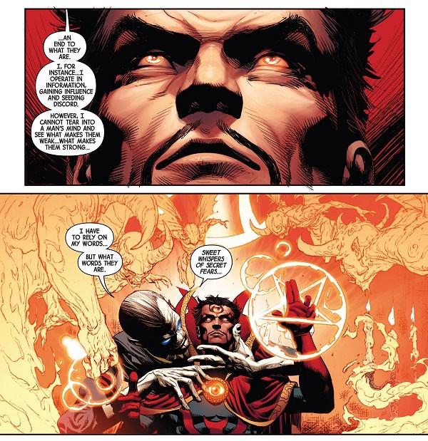 Dr. Strange từng là bại tướng dưới tay của Ebony Maw. Bằng sự mưu mẹo của mình, Maw đã biến phù thủy tối thượng trở thành con rối của hắn.