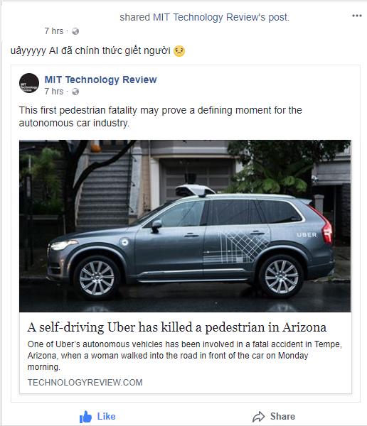 Xe tự lái của Uber đâm tử vong 1 người qua đường tại Mỹ - Uber phủ nhận trách nhiệm và cho rằng mình đã dừng thử nghiệm rồi - Ảnh 3.