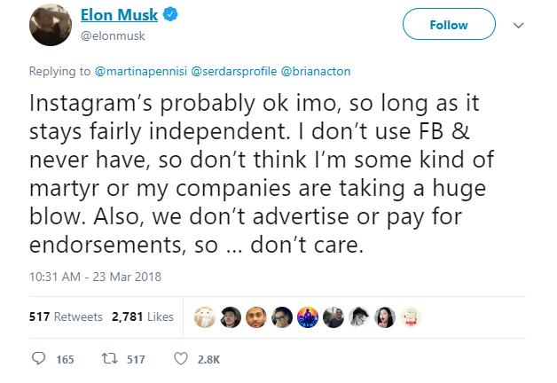 Elon Musk xóa hai trang Facebook chính thức của Tesla và SpaceX: Tôi không dùng Facebook và sẽ chẳng bao giờ dùng cả - Ảnh 8.