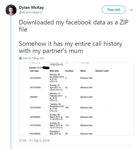 Đã tải xuống dữ liệu Facebook của tôi dưới dạng file ZIP. Bằng cách nào đó, toàn bộ lịch sử cuộc gọi của tôi với mẹ của người yêu đều được lưu trữ tại đây.