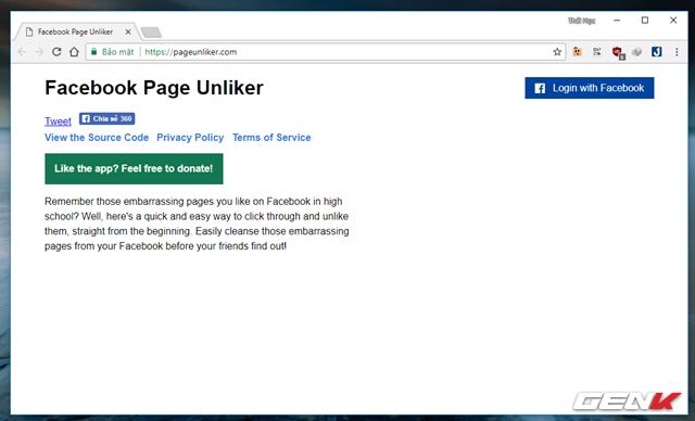 """Bước 1: Truy cập vào trang Facebook Page Unliker tại đây và nhấp vào tùy chọn """"Login with Facebook""""."""