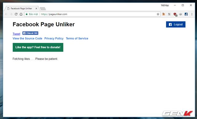 Hoàn tất việc đăng nhập, Facebook Page Unliker sẽ tiến hành quét danh sách các Facebook Page mà bạn đã Like.