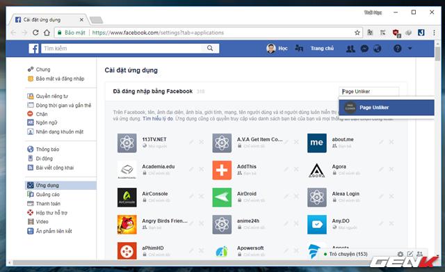 """Bước 3: Sau khi đã hoàn tất việc """"thanh lý"""" các Facebook Page mà mình không thích, bạn hãy truy cập vào địa chỉ này và nhập vào ô tìm kiếm từ khóa """"Page Unliker"""", kế đến hãy nhấp vào kết quả hiện ra."""