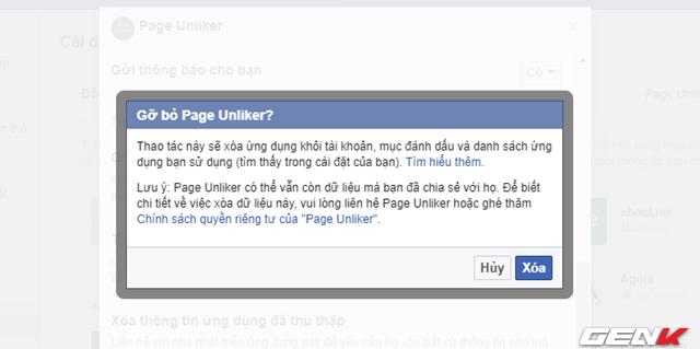 """Và nhấp tiếp vào """"Xóa"""" để xóa ứng dụng Facebook Page Unliker khỏi tài khoản của bạn nhầm tránh các vấn đề về bảo mật tài khoản."""