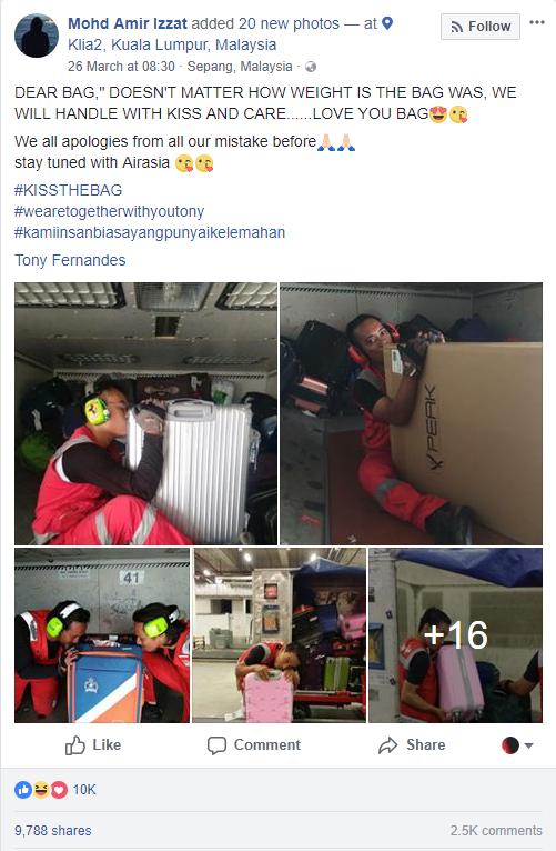 Nhân viên bốc xếp của AirAsia phải ôm, hôn từng chiếc vali sau khi bị tố quăng quật hành lý - Ảnh 3.