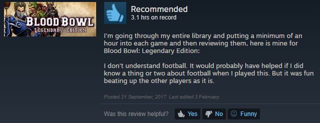 Tôi chẳng hiểu luật bóng bầu dục. Có lẽ điều đó sẽ giúp tôi chơi game. Nhưng dù gì thì game vẫn rất vui khi bạn có thể đập tơi tả những người chơi khác.