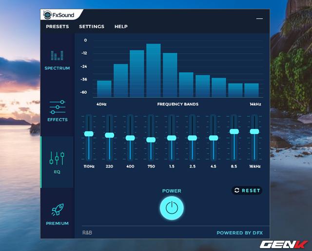 Xong Effects, bạn tiếp tục chuyển qua tab EQ để điều chỉnh thêm môi trường nghe bằng cách sử dụng các bộ cân bằng chất lượng âm thanh theo chuẩn phòng thu.