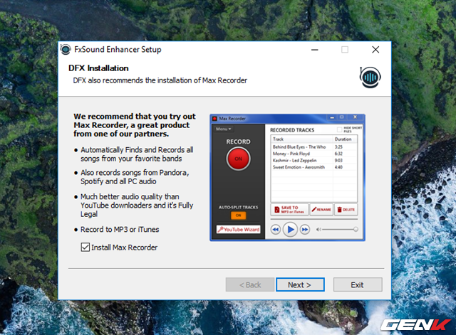 """Trong lúc cấu hình cài đặt, phần mềm sẽ gợi ý bạn cài đặt thêm Max Recorder. Nếu cảm thấy cần sử dụng thì bạn đánh dấu check vào lựa chọn """"Install Max Recorder"""", còn không thì hủy bỏ đánh dấu ở lựa chọn này và nhấn Next để tiếp tục."""