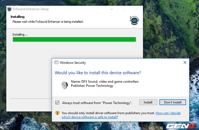 Thêm vào đó, để hoàn tất quá trình cài đặt, bạn sẽ cần cho phép cài đặt thêm driver âm thanh từ FXSound.