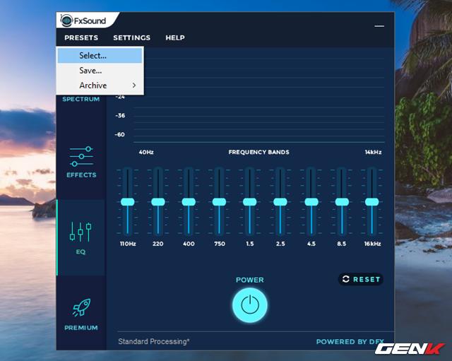 Giao diện FXSound so với DFX Audio Enhancer trong đẹp mắt hơn rất nhiều. Người dùng có thể lựa chọn các nhóm tinh chỉnh như Spectrum, Effects, EQ. Để lựa chọn một chất âm được điều chỉnh sẳn dựa theo loại nhạc bạn hay nghe, hãy nhấp vào Presets và chọn Select…