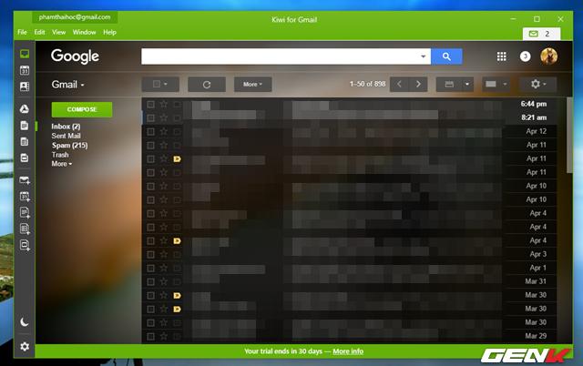 Giờ thì giao diện Gmail sẽ xuất hiện trước mắt bạn. Tốc độ tải dữ liệu cực kỳ nhanh và hỗ trợ hoàn toàn các thao tác quản lý email đầy đủ như trên nền web.