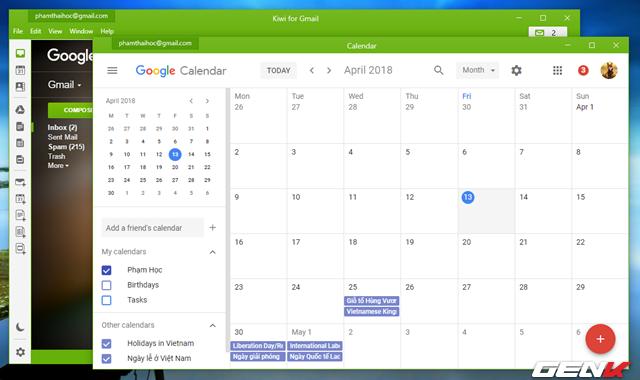 Các ứng dụng trong G-Suite như Docs, Sheets, Slides, Drive, Calendar được sắp xếp theo biểu tượng ở cạnh trái giao diện Kiwi for Gmail, Khi bạn nhấp vào, cửa sổ Kiwi mới sẽ mở ra và hiển thị giao diện ứng dụng Google mà bạn đã nhấp.