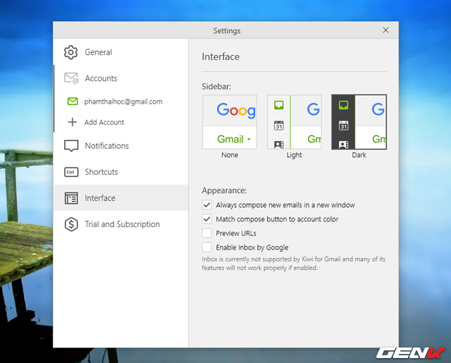 Nếu cần điều chỉnh thêm về mặt cá nhân hóa Kiwi for Gmail, bạn hãy nhấp vào biểu tượng hình chiếc bánh răng và thiết lập các tùy chọn theo ý muốn.