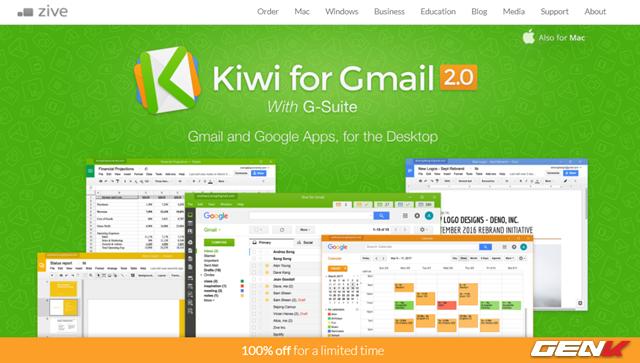 Kiwi for Gmail được cung cấp với 2 phiên bản, bao gồm miễn phí dùng thử 01 tháng và trả phí (gần 10USD/năm). Phiên bản miễn phí mặc dù giới hạn thời gian sử dụng nhưng bạn sẽ được cung cấp mã dùng thử lên đến 01 để trải nghiệm tại trang chủ phần mềm. Phần mềm này hỗ trợ hoàn toàn Windows và macOS.