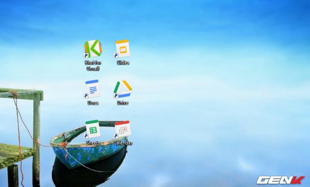 Quá trình cài đặt sẽ diễn ra một cách tự động. Khi hoàn tất, biểu tượng của các dịch vụ G-Suite như Docs, Sheets, Slides, Drive, Calendar và Kiwi for Gmail sẽ hiển thị trên màn hình desktop.