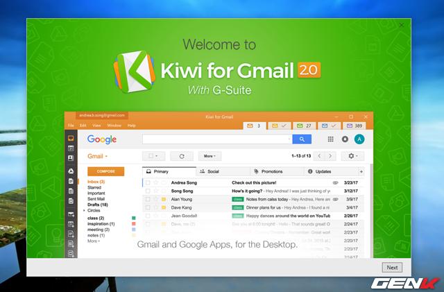 Đồng thời, giao diện giới thiệu tính năng và hướng dẫn của Kiwi for Gmail sẽ hiển ra. Bạn có thể tham khảo để hiểu hơn về phần mềm này.
