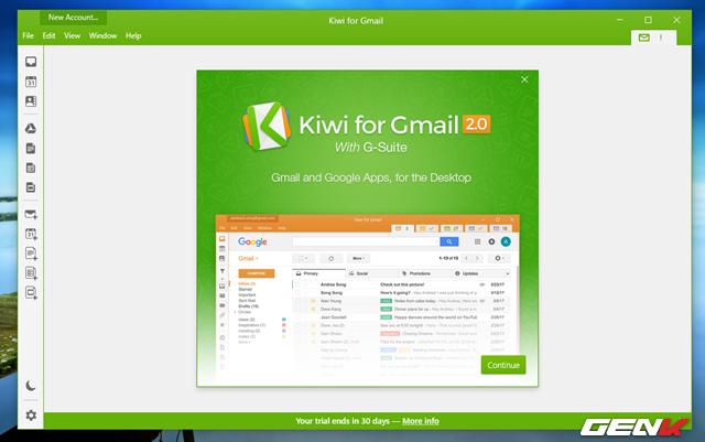 Giao diện của Kiwi for Gmail khá đẹp và hiện đại. Để bắt đầu, bạn hãy nhấp vào Continue.
