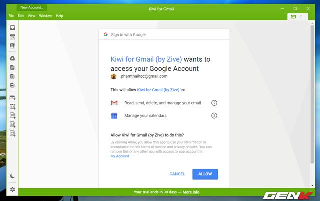 Sau khi đăng nhập, bạn cần cho phép Kiwi for Gmail được quyền truy cập và quản lý các nội dung dữ liệu trong tài khoản của bạn.