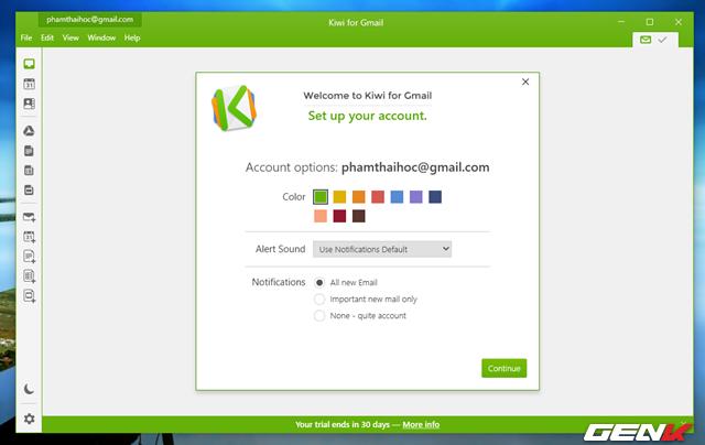 Tiếp theo sẽ là phần thiết lập một số các tùy chọn cá nhân trong Kiwi for Gmail.