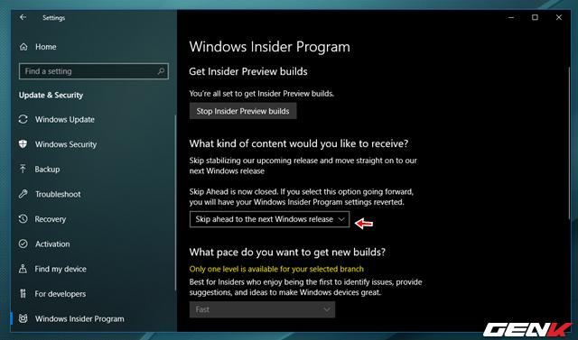 """Bước 6: Hoàn tất 2 thay đổi trên, bạn hãy khởi động lại Windows và truy cập lại vào Settings > Update & Security > Windows Insider Program. Tiến hành thay đổi lựa chọn trong """"What kind of content would you like to receive"""" thành Skip Ahead."""