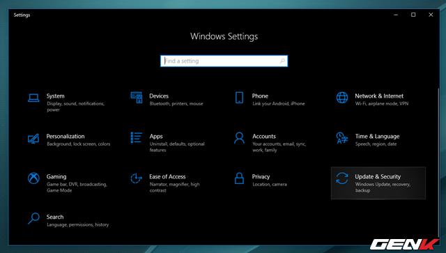 Bước 1: Truy cập vào Settings > Update & Security.