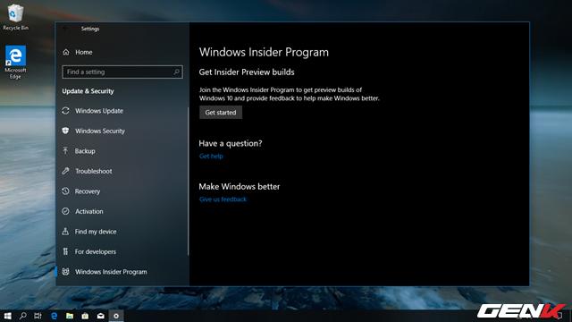 Nhấp vào nhóm tùy chọn Windows Insider Program và tiến hành đăng ký tài khoản tham gia chương trình thử nghiệm Windows Insider Preview.