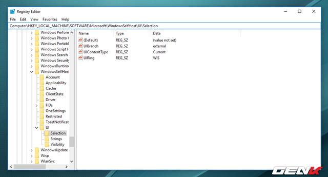 """Bước 3: Cửa sổ Regedit Editor xuất hiện, hãy điều hướng đến đường dẫn """"HKEY_LOCAL_MACHINE\SOFTWARE\Microsoft\WindowsSelfHost\UI\Selection""""."""
