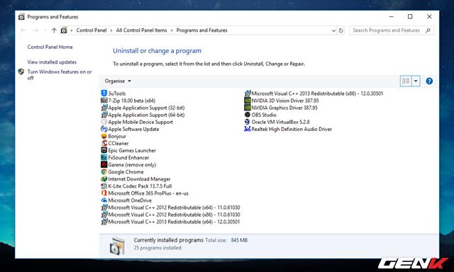 """Để tránh """"bỏ sót"""" phần mềm nào đó, bạn nên chụp lại danh sách các phần mềm mình đã cài trong Control Panel > Programs and Features."""
