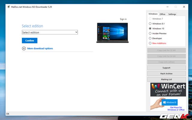 """Bước 4: Chờ vài giây và tiến hành lựa chọn phiên bản Windows 10 mình cần, sau đó nhấn """"Confirm"""" để xác nhận."""