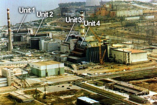 Toàn cảnh 4 lò phản ứng của nhà máy điện hạt nhân Chernobyl.
