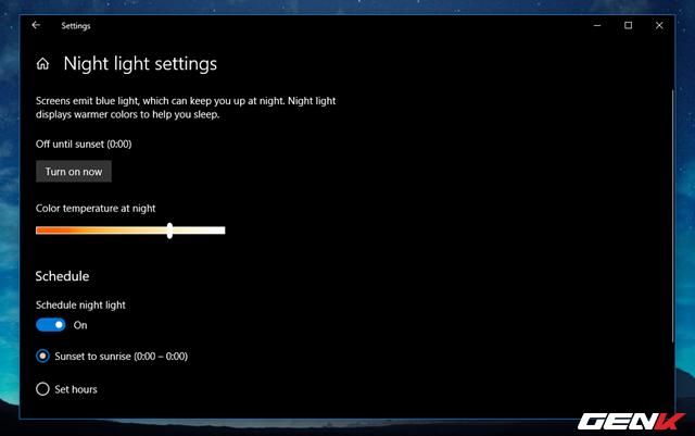 Cách thiết lập tự động kích hoạt tính năng lọc ánh sáng xanh khi đêm xuống trên Windows 10 April 2018 - Ảnh 11.