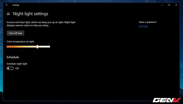 Cách thiết lập tự động kích hoạt tính năng lọc ánh sáng xanh khi đêm xuống trên Windows 10 April 2018 - Ảnh 8.