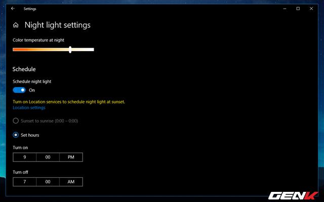 Cách thiết lập tự động kích hoạt tính năng lọc ánh sáng xanh khi đêm xuống trên Windows 10 April 2018 - Ảnh 9.
