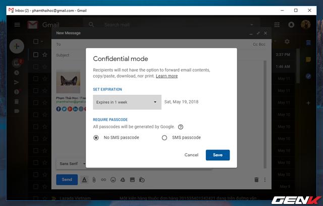 Bước 3: Cửa sổ thiết lập chế độ bí mật xuất hiện. Tại đây bạn sẽ được cung cấp các lựa chọn thiết lập bảo mật cho email mà bạn đang soạn.
