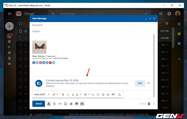 Bước 4: Sau khi đã thiết lập xong, bạn sẽ được đưa trở lại giao diện soạn thảo email trước đó. Tuy nhiên, trong ô soạn thảo sẽ xuất hiện thêm khung thông báo về thời gian tự hủy email theo như thiết lập từ bạn.
