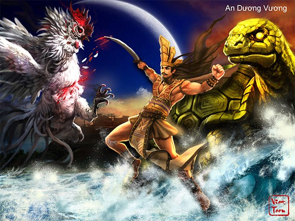 Viet toon phóng tác An Dương Vương như một người anh hùng trong thần thoại Việt (ảnh sưu tầm)