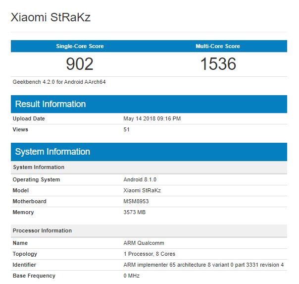 Thiết bị Xiaomi với tên mã StRaKz bất ngờ xuất hiện trên Geekbench, chip Snapdragon 625, 4GB RAM - Ảnh 1.