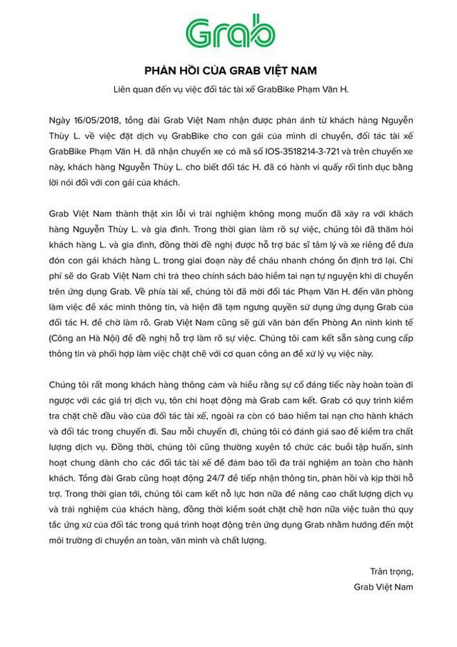 Nội dung phản hồi của Grab về vụ việc gây xôn xao ngày hôm nay.