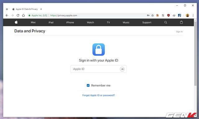 """Bước 1: Khởi động trình duyệt web và truy cập vào địa chỉ """"privacy.apple.com"""" và tiến hành đăng nhập tài khoản iCloud của bạn vào."""