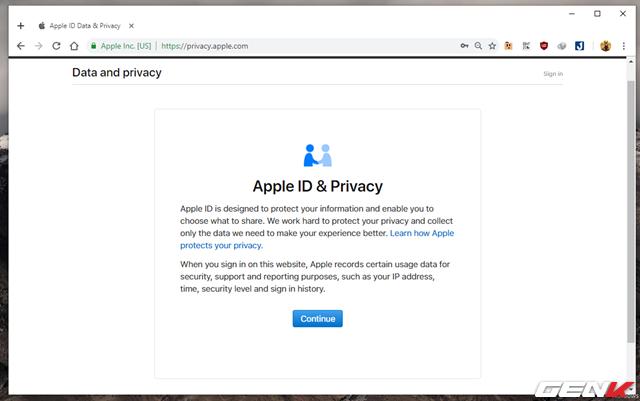 Bước 2: Hoàn tất đăng nhập, bạn sẽ được Apple trình bày các nội dung điều khoản về dữ liệu riêng tư khi sử dụng dịch vụ có liên quan đến tài khoản Apple. Hãy nhấn Continue để tiếp tục.