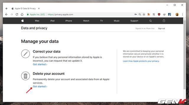 """Bước 3: Lúc này, Apple sẽ đưa ra cho bạn 02 lựa chọn thao tác, bao gồm """"Correct your data"""" và """"Delete your account"""". Hãy nhấp vào tùy chọn """"Get started"""" bên dưới dòng Delete your account."""